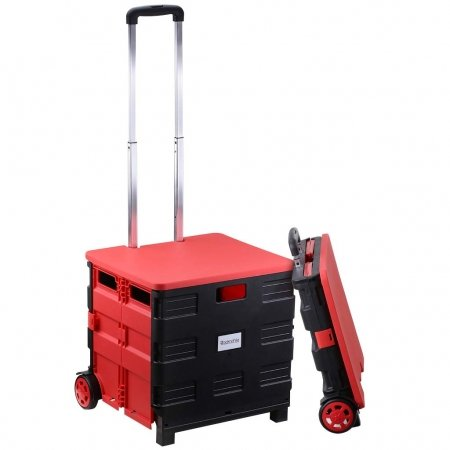 Folding Cart with Lid Cover Utility Shopping Cart Foldable Boot Cart
