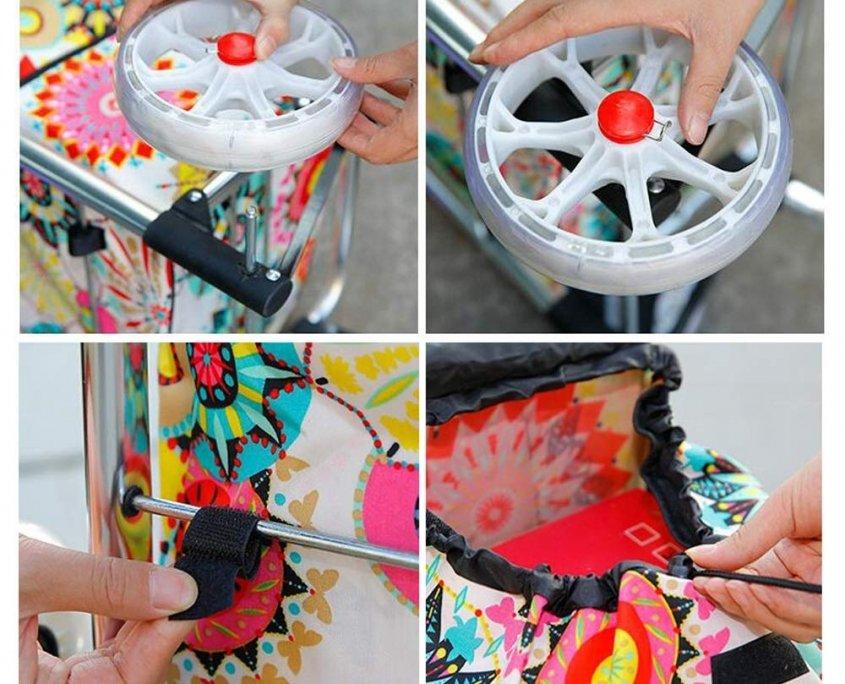 Waterproof fabric foldable shopping trolley