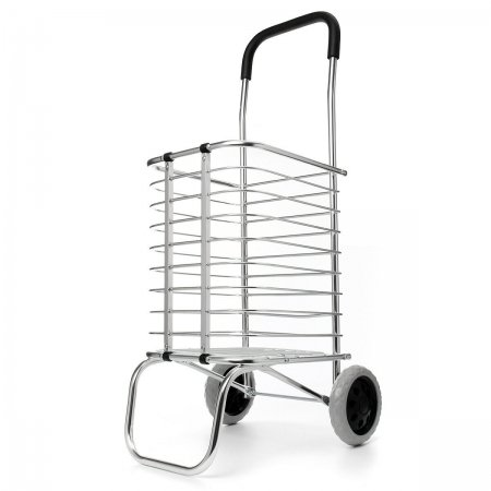 Folding Shopping Cart Market Grocery Basket Cart Trolley 2 Wheel Aluminum