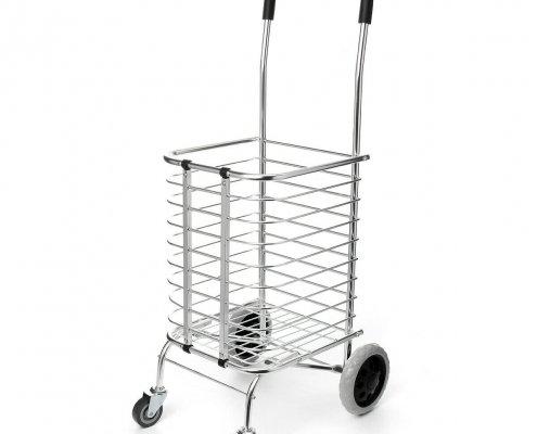 Portable Folding Shopping Basket Cart Trolley Four Wheel Aluminum Alloy